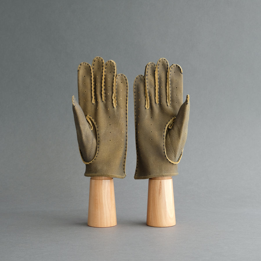 Gentlemen's Unlined Driving Gloves from Antique Brown Deerskin