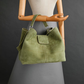 Ladies Bag From Green Goatskin Suede