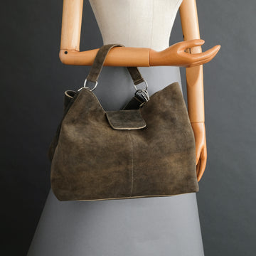 Ladies Bag From Walnut Goatskin Suede