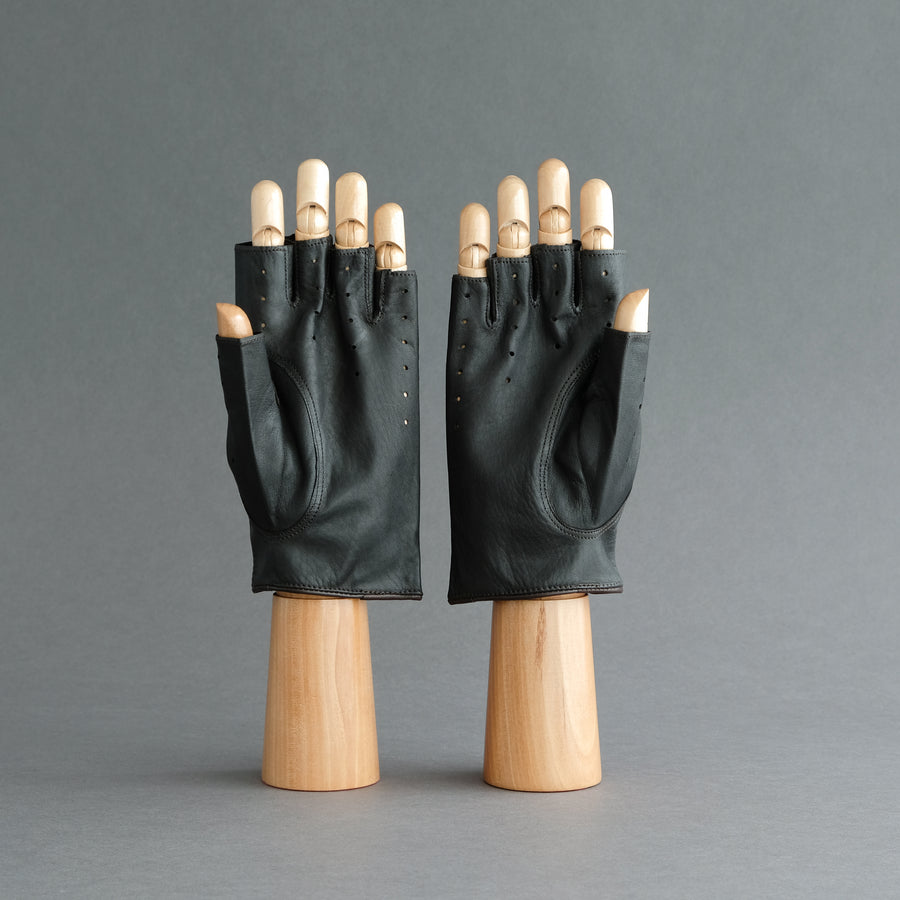 Gentlemen's Fingerless Driving Gloves from Dark Brown Deerskin