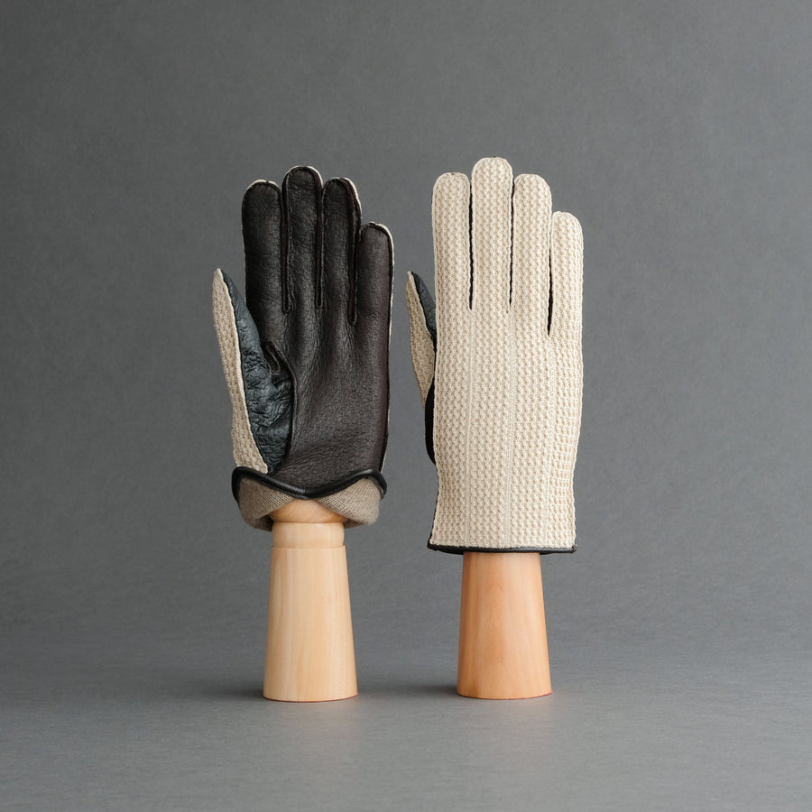 Gentlemen's Gloves from Peccary Leather and Cotton Crochet