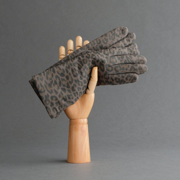 Ladies Gloves from Hair Sheep Nappa In Leopard Print