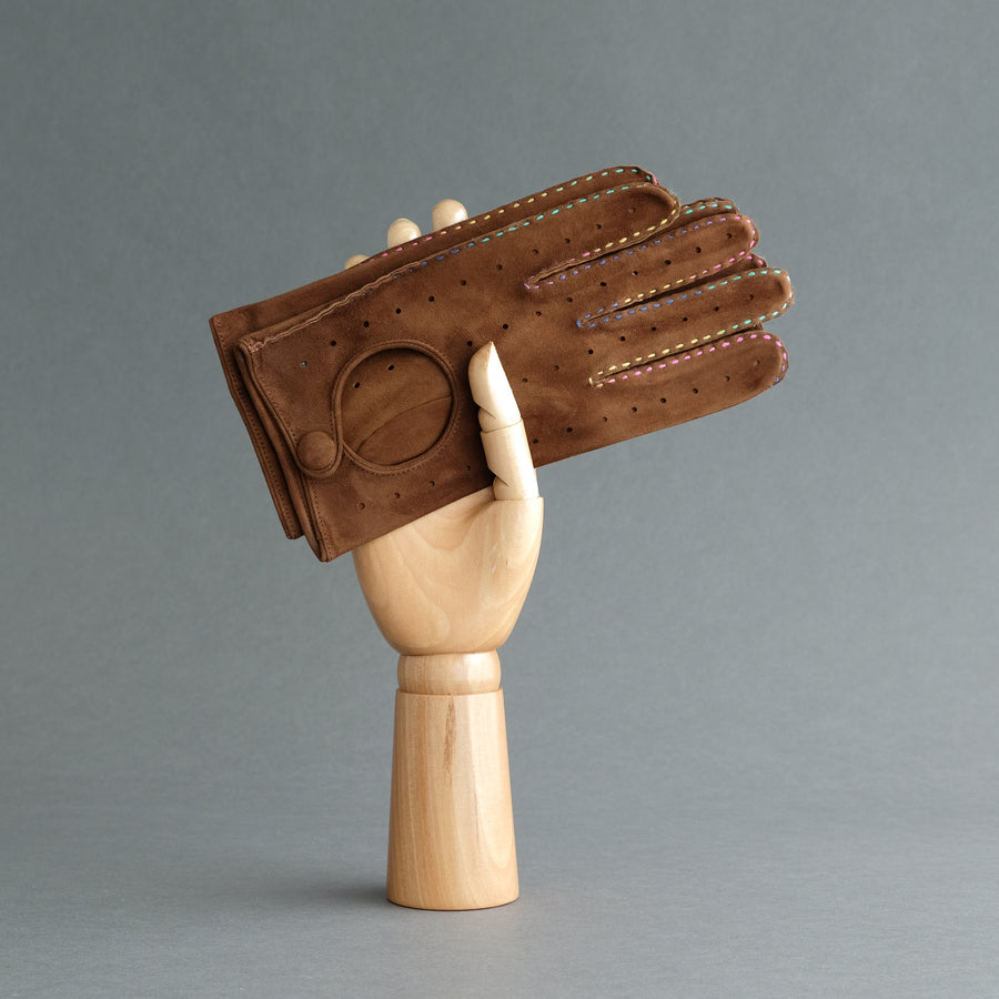 Gentlemen's Unlined Driving Gloves from Havana Reindeer Suede