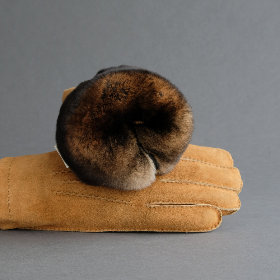 Gentlemen's Gloves from Cognac Goatskin Suede Lined with Orylag Fur