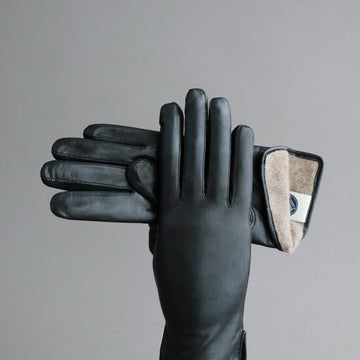 Ladies Gloves from Black Hair Sheep Nappa lined with Cashmere