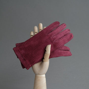 Ladies Gloves From Bordeaux Carpincho Leather