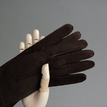 Ladies Gloves From Dark Brown Carpincho Leather