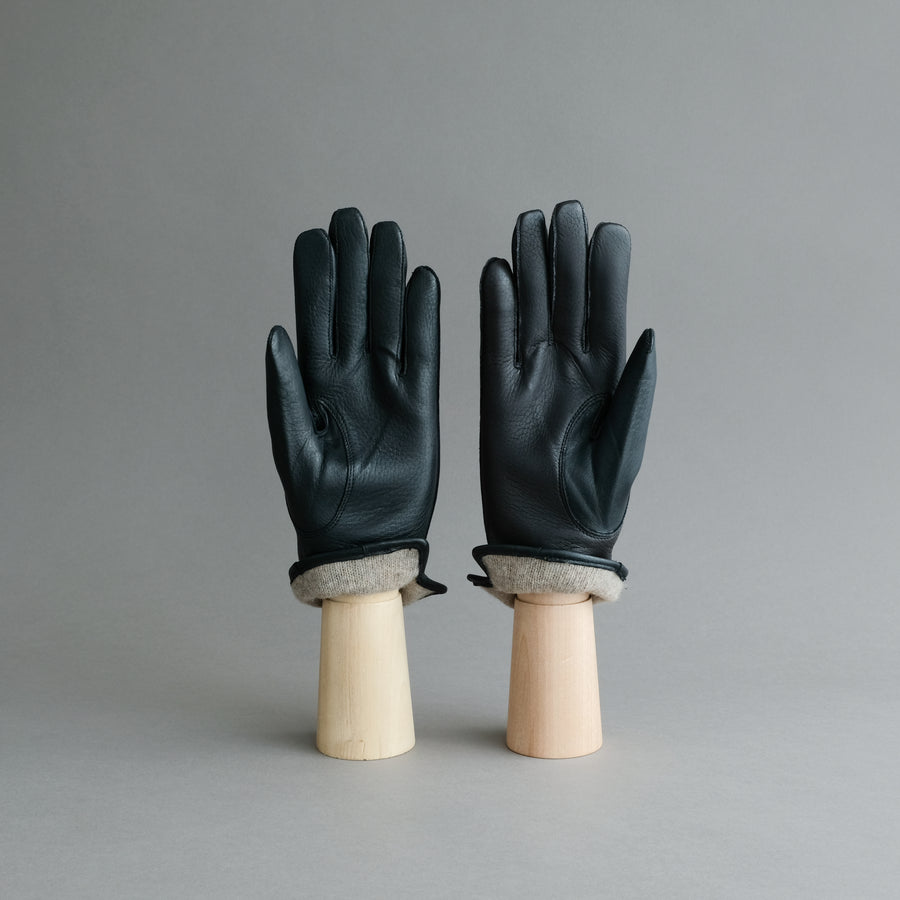 Gentlemen's Gloves from Black Deerskin Lined with Cashmere