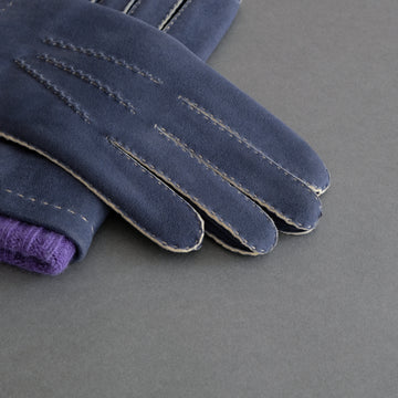 Gentlemen's Gloves from Navy Doeskin Lined with Cashmere
