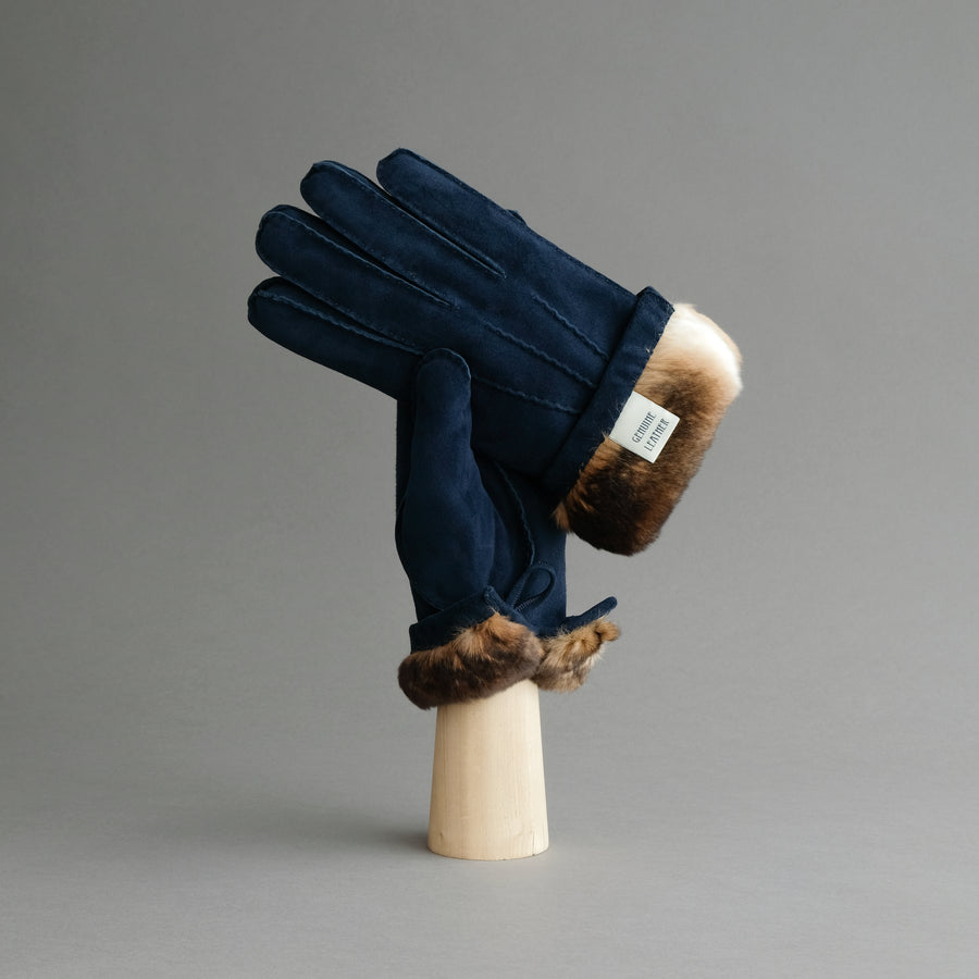Gentlemen's Buttoned Gloves from Dark Blue Reindeer Suede Lined with Orylag Fur