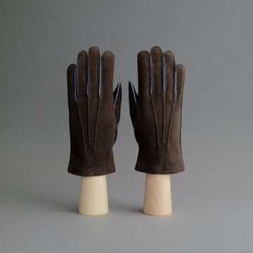 Gentlemen's Gloves from Dark Brown Goatskin Lined with Cashmere