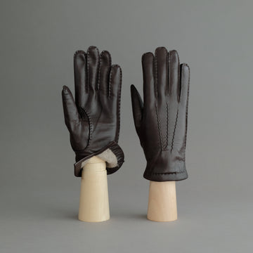 Gentlemen's Gloves from Dark Brown Hair Sheep Nappa Lined with Cashmere