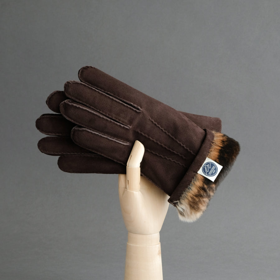 Gentlemen's Gloves from Dark Brown Reindeer Suede Lined with Orylag Fur