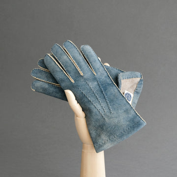 Gentlemen's Gloves from Jeans Blue Goatskin Lined with Cashmere