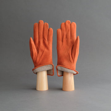 Gentlemen's Gloves from Orange Goatskin Lined with Cashmere