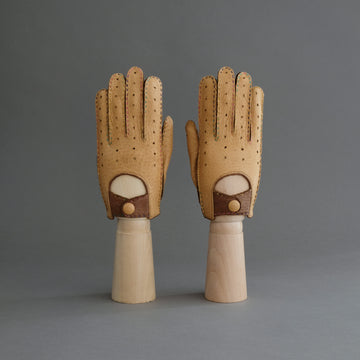 Gentlemen's Unlined Driving Gloves from Brown/Cognac Peccary