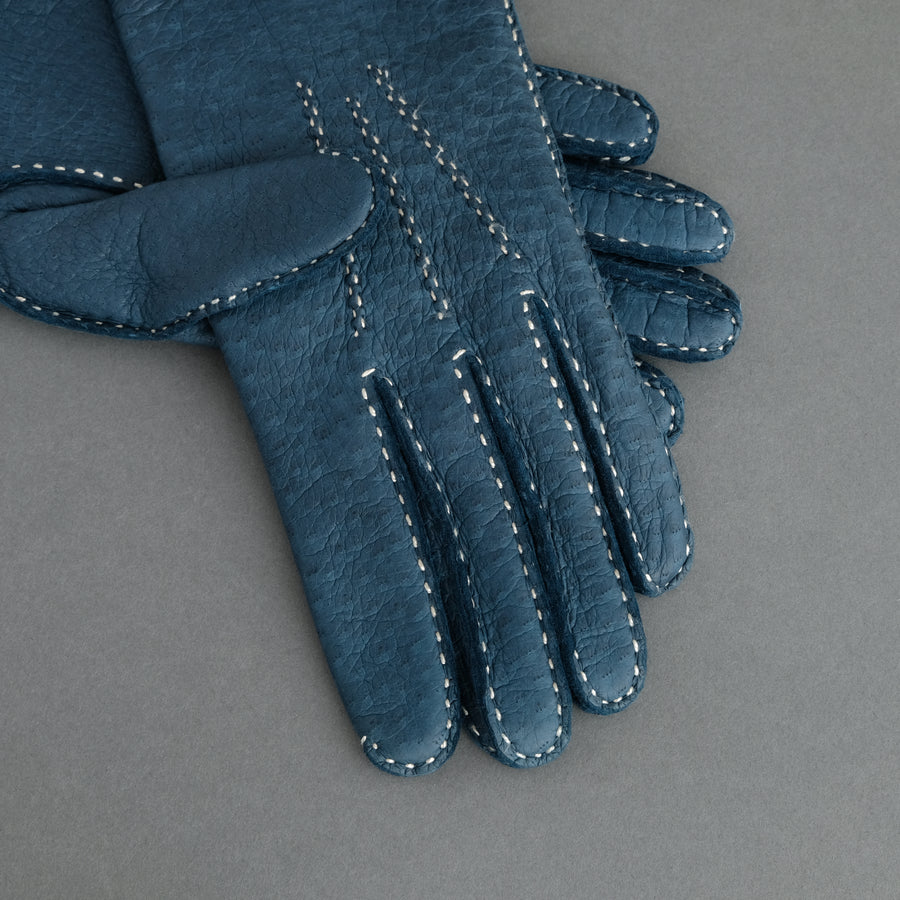 Gentlemen's Gloves from Denim Blue Peccary Lined with Cashmere