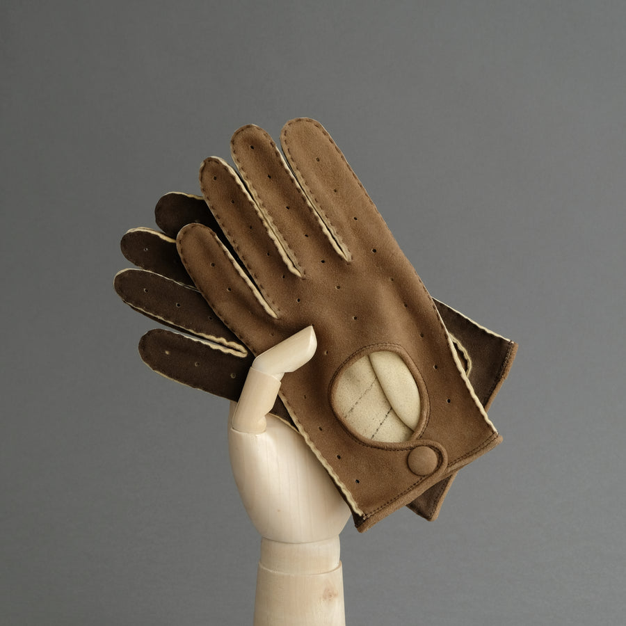 Gentlemen's Unlined Driving Gloves from Brown Goatskin