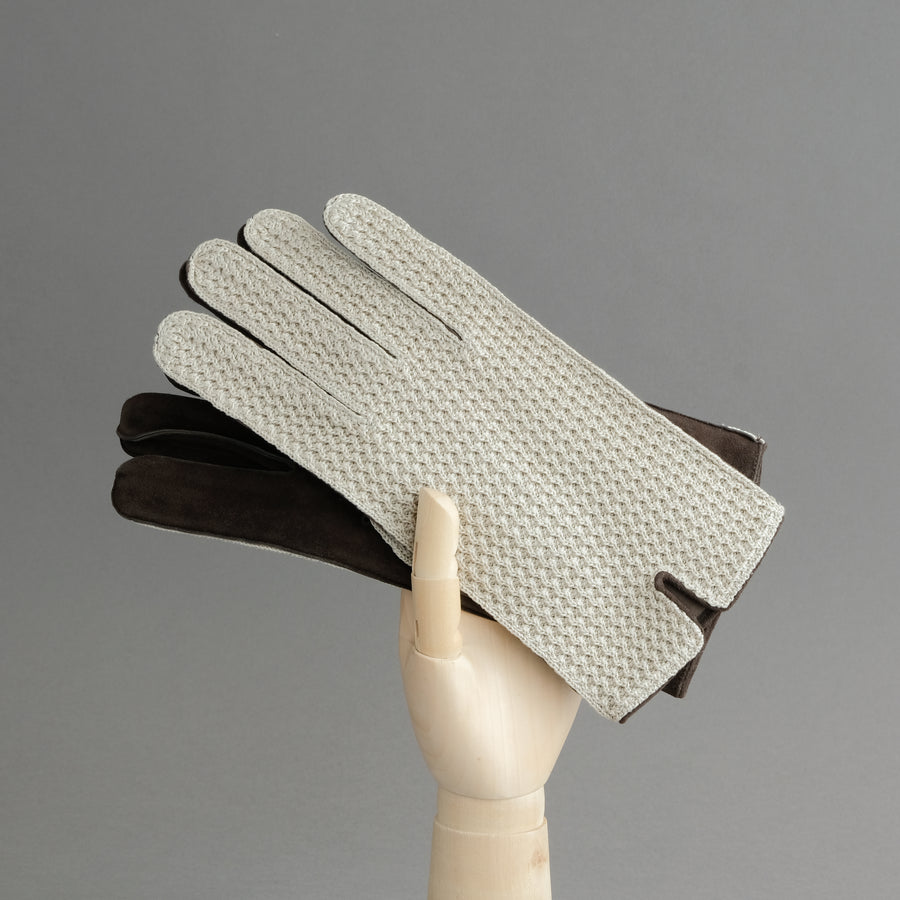 Gentlemen's Unlined Gloves from Goatskin and Cotton Crochet