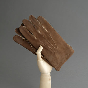 Gentlemen's Hand Sewn Unlined Gloves from Brown Doeskin