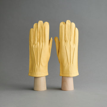 Gentlemen's Unlined Hand Sewn Gloves from Yellow Deerskin