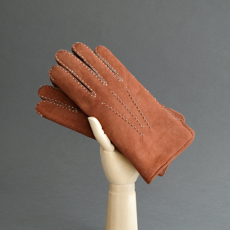 Gentlemen's Hand Sewn Gloves From Rust Curly Lambskin
