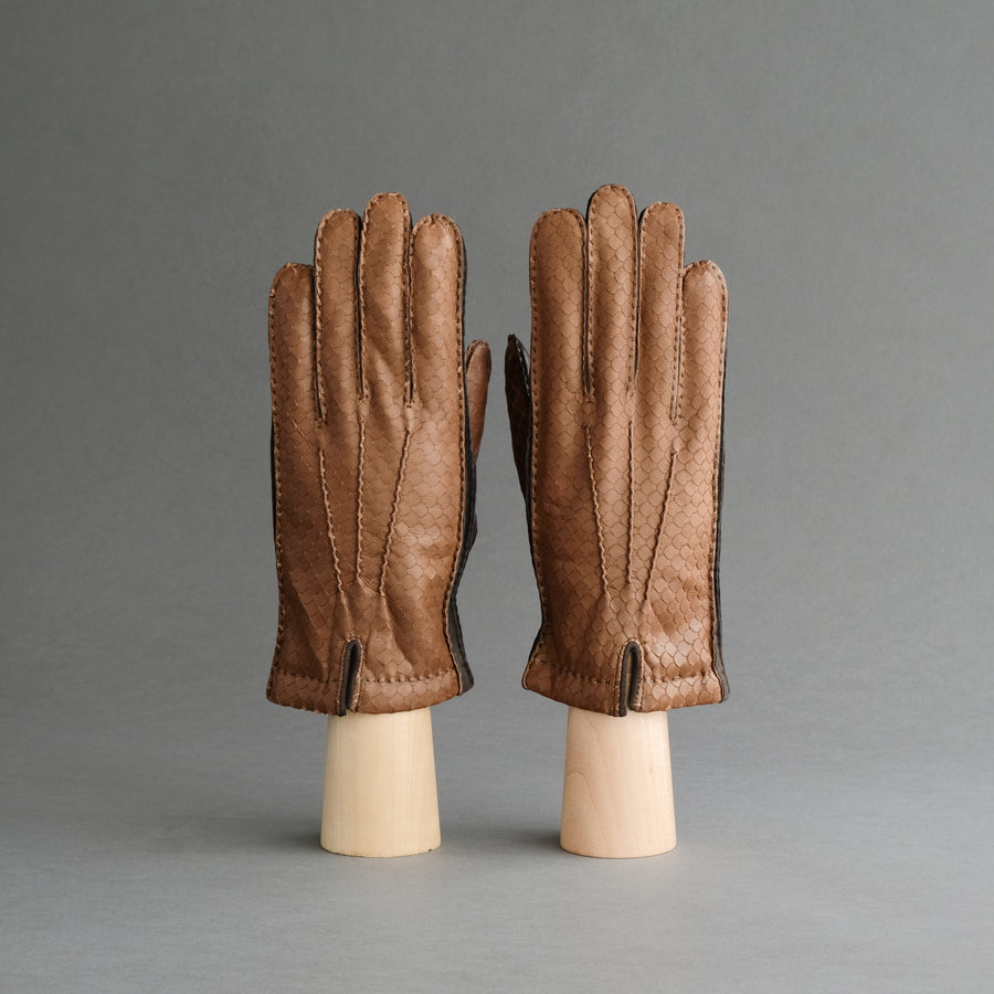 Gentlemen's Gloves from Dark Brown/Cognac Hair Sheep Nappa Lined with Cashmere