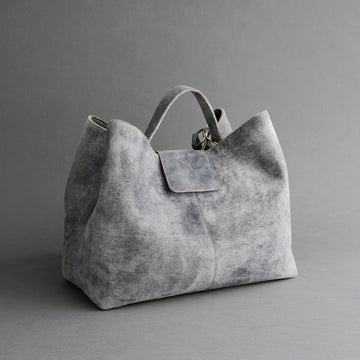 Ladies Bag From Light Grey-Blue Goatskin Suede