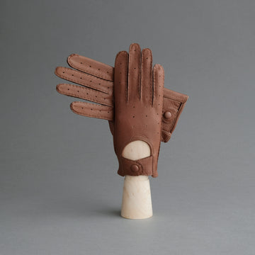 Ladies Unlined Driving Gloves From Brown Deerskin