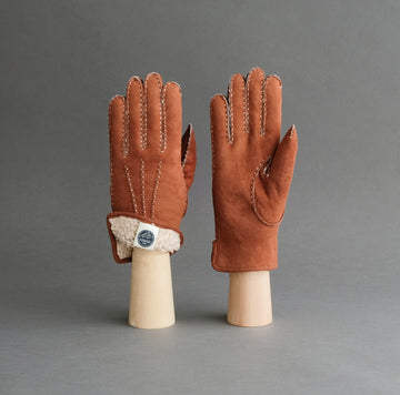 Ladies Hand Sewn Gloves From Rust Curly Lambskin