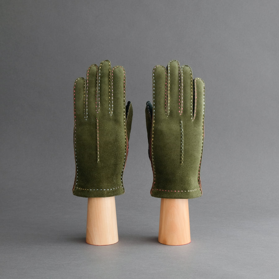 Ladies Gloves from Green Goatskin Lined with Cashmere