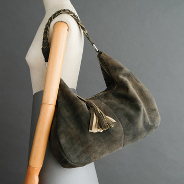 Ladies Moon Bag From Walnut Goatskin Suede