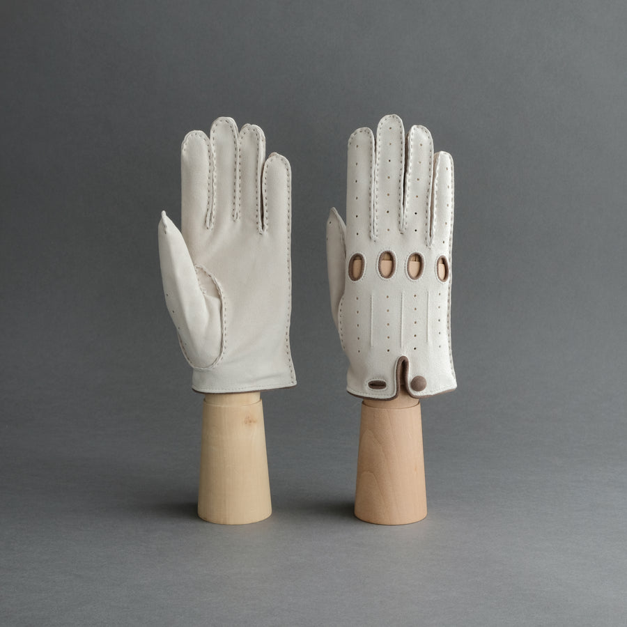 Ladies Unlined Driving Gloves From Ivory Reindeer Suede