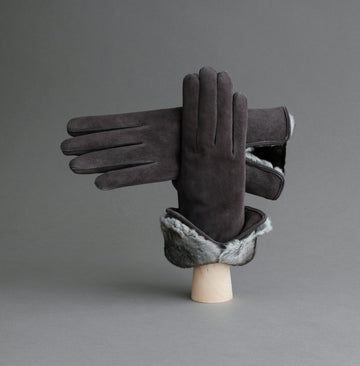 Ladies Gloves from Grey Reindeer Suede with Orylag Cuffs