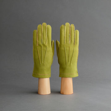 Ladies Unlined Hand Sewn Gloves From Lime Green Doeskin