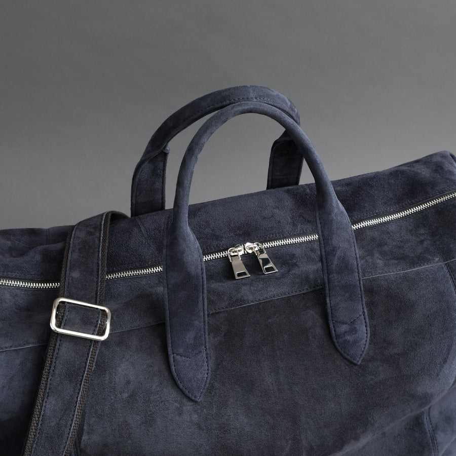Large Weekender From Dark Blue Goatskin Suede
