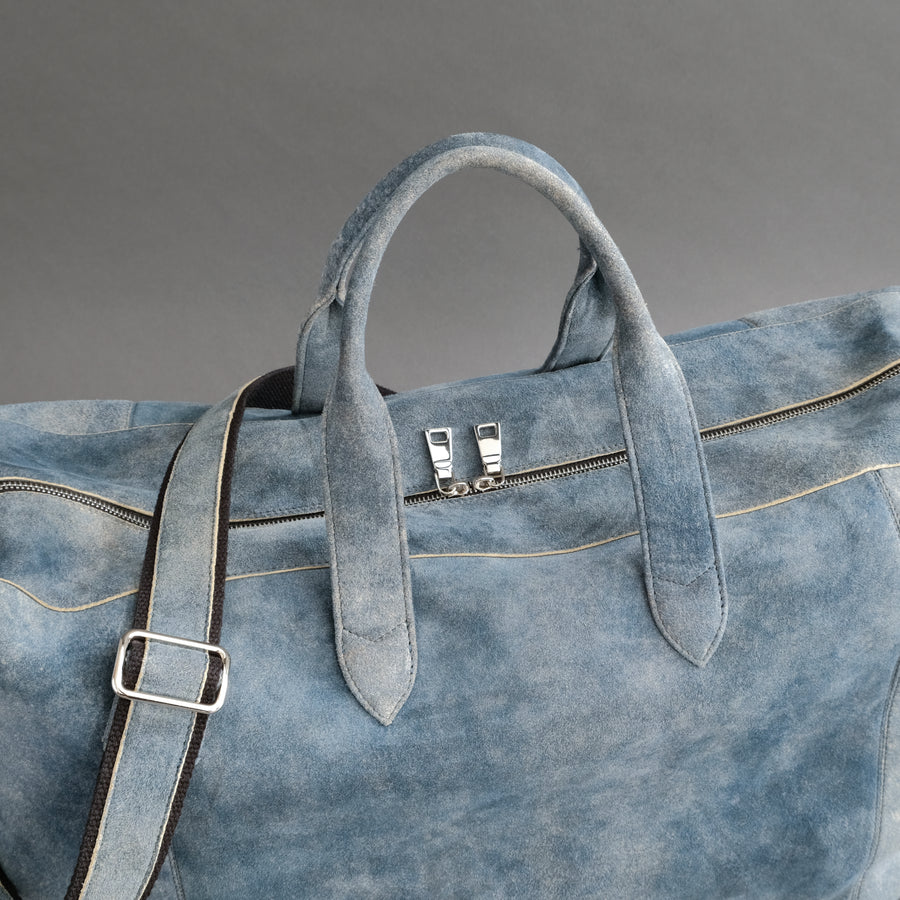 Large Weekender From Jeans Blue Goatskin Suede