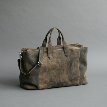 Large Weekender From Walnut Goatskin Suede