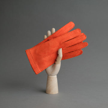 Ladies Dress Gloves from Orange Carpincho Leather