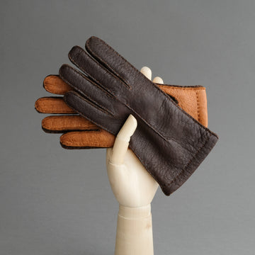 Ladies Peccary Gloves in Dark Brown and Cognac