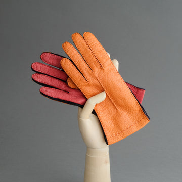 Ladies Gloves from Orange, Red and Purple Peccary
