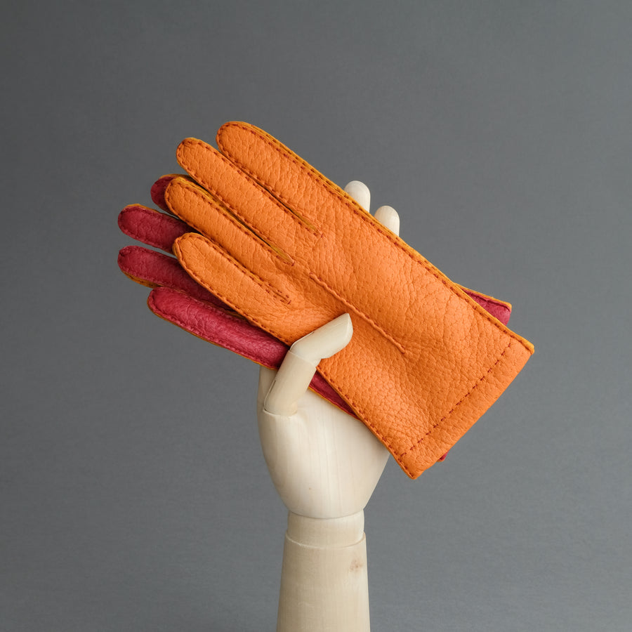 Ladies Gloves from Orange, Red and Yellow Peccary