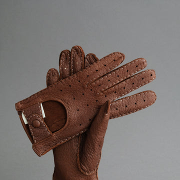 Ladies Driving Gloves From Mid-Brown Peccary Leather