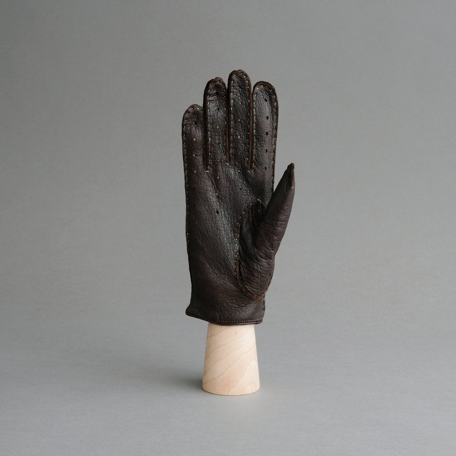Ladies Unlined Driving Gloves From Brown Peccary Leather