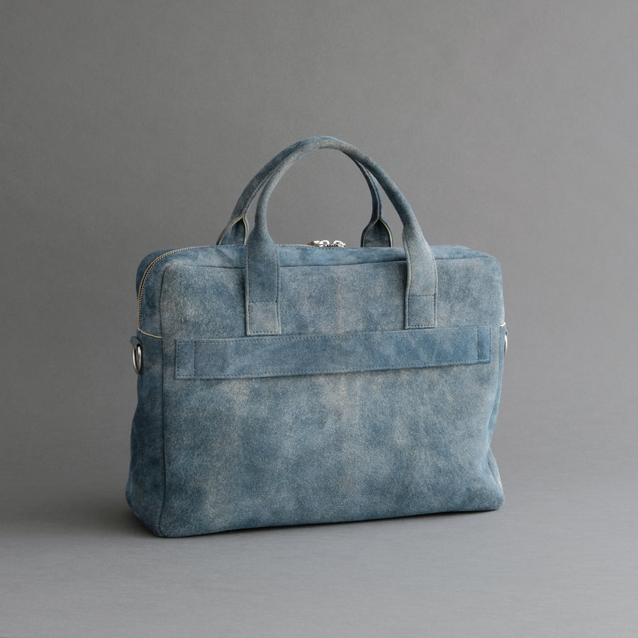 Laptop Carrying Bag Made From Jeans Blue Goatskin Suede