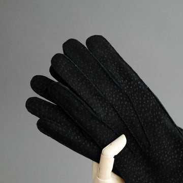 Gentlemen's Gloves from Black Carpincho Leather Lined With Cashmere