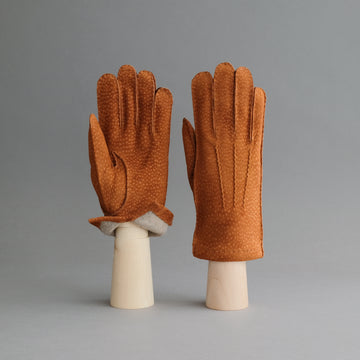 Gentlemen's Gloves from Cognac Carpincho Leather Lined With Cashmere