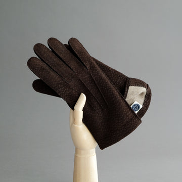 Gentlemen's Gloves from Dark Brown Carpincho Leather Lined With Cashmere