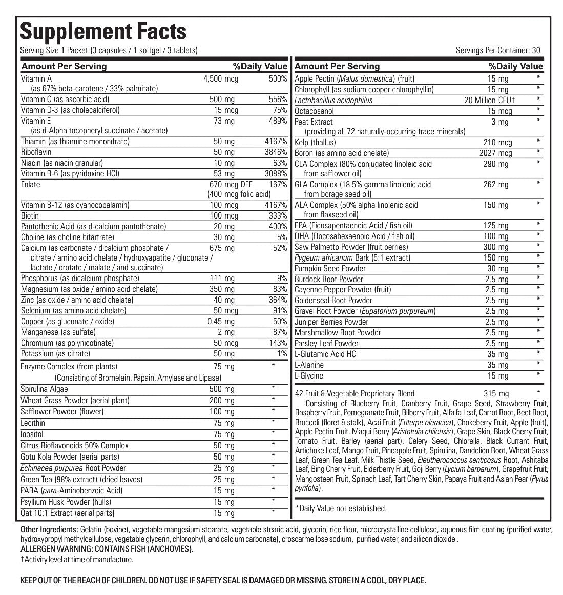 Supplement Spot - Essential Prostate Pack - Supplement Facts