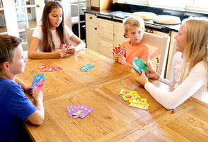 Food Friends educational card game, children playing